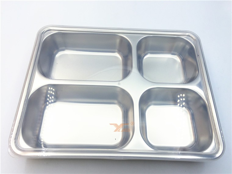 4 sections Stainless Steel Rectangular Divided Dinner Tray, divided <strong>plate</strong>
