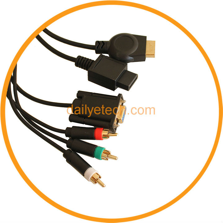 HDTV AV Audio Video Component VGA Cable for Wii PS3 to PC TV Monitor Display Game from dailyetech
