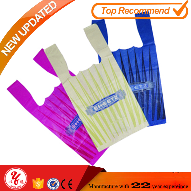 Biodegradable Packaging on Roll Custom Printed Plastic T-shirt Bags