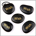 Wholesale engraved polished inspirational flat black river stone