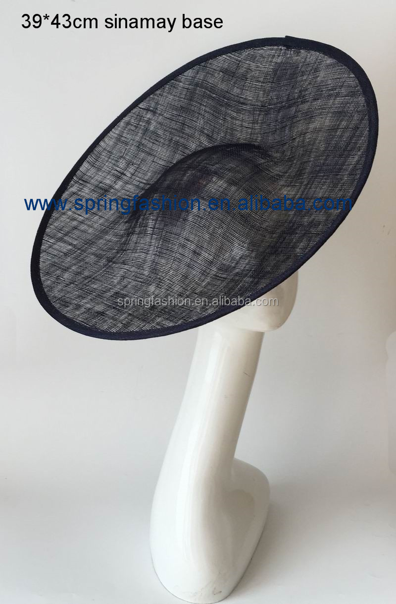 Sinamay Large Fascinator Base Big Brim Hat base (39*43cm) - Black