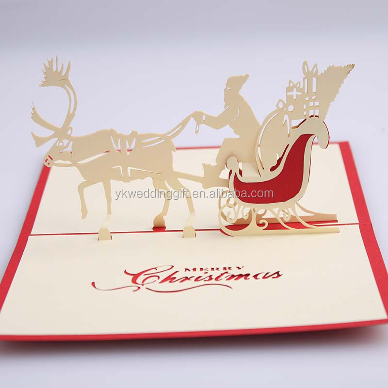 NEW Gift 3D Christmas Deer Car Handmade Creative Fashion Greeting Cards