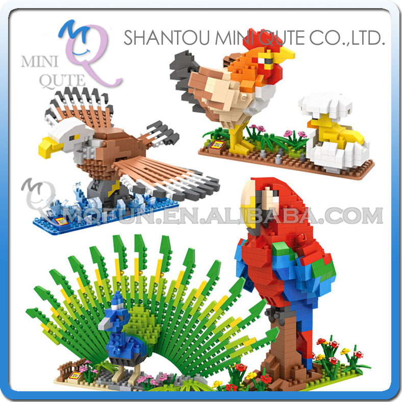 Mini Qute LOZ kawaii Animal Chicken Peafowl Eagle Parrot damond block plastic cube building blocks bricks educational toy