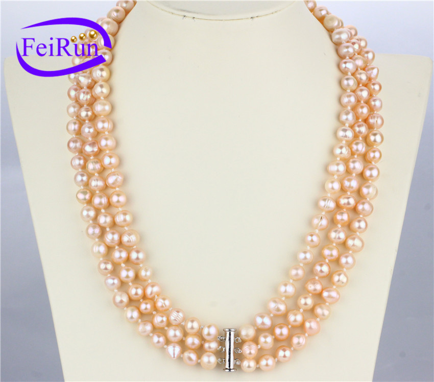 3 rows peach pink color cheap wholesale genuine cultured multi strand pearl necklace