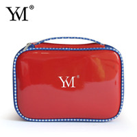 2016 newest red patent leather brush cosmetic bag
