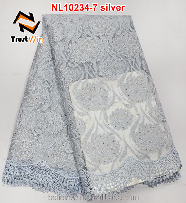high quality white embroidery lace curtain fabric with stones for african wedding