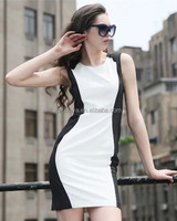 Ladies Brief Short Sexy Dresses New 2014 Summer Dress Plus Size Women Slim Novelty White Work Wear black and white short dresses