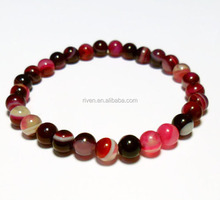 SN0117 6mm bright beads pink agate stone bracelet healing crystals Good Luck jewelry Pink Agate Bracelet for women