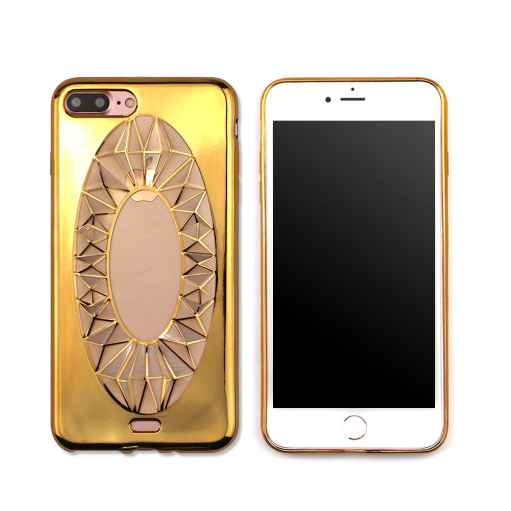Luxury 3D Diamond Bling Mobile Phone Electroplating TPU Back Cover Protective Case for iPhone 7
