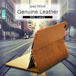 New Style Slim Oil Waxy Genuine Tablet Leather Notebook Case For Ipad Mini 4