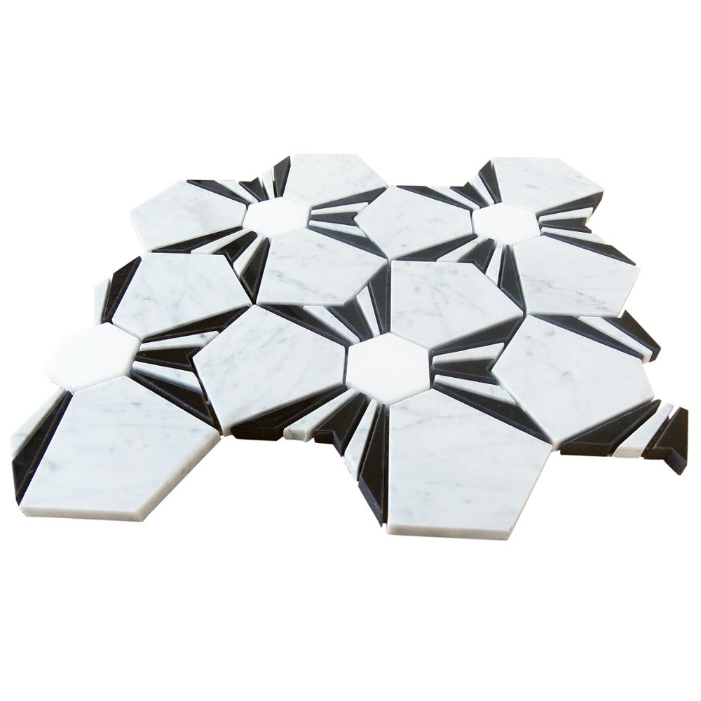 kb stone new design carrara white waterjet mosaic tile and nero marquina dots