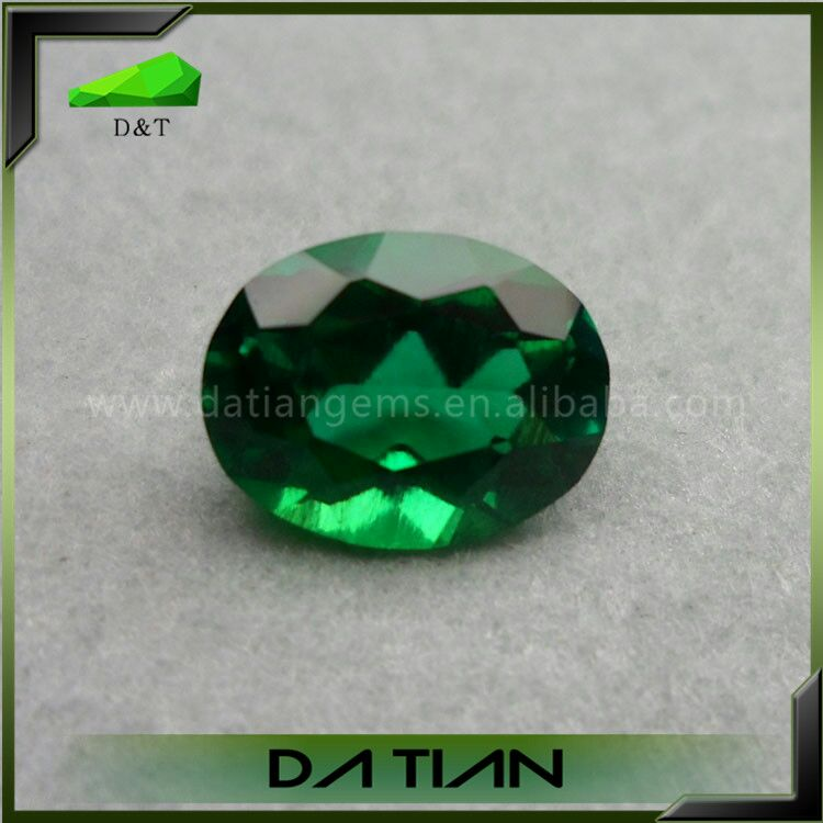 Hot sale oval dark green synthetic Emerald