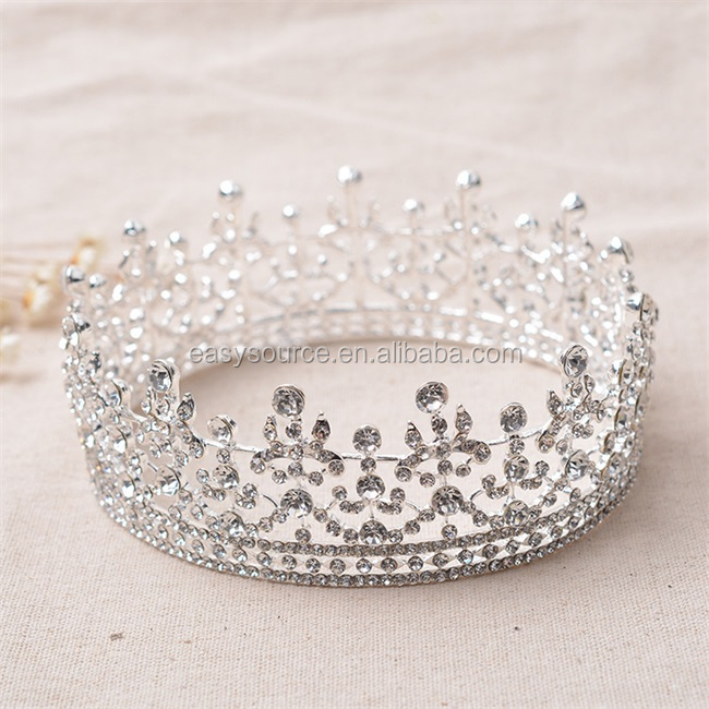 full cricle round custom made bridal princess crystal rhinestone Alloy pageant tiaras and <strong>crown</strong>