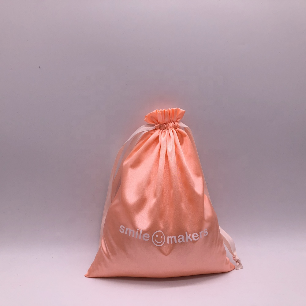 Reusable Silk Smile Satin Gift Drawstring Bag