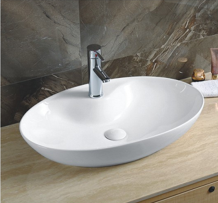 YJ 9438 Table top mounted oval shaped shape vanity art basin cabinet