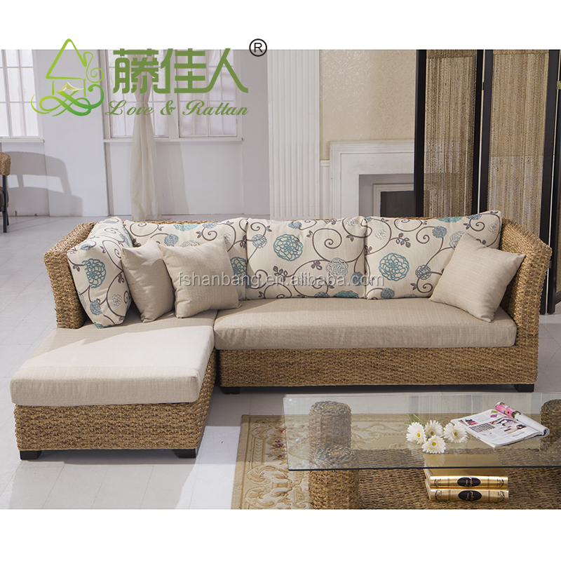 Nice Design Hand Woven Classic Seagrass Natural Rattan Wicker Living Room Furniture Sectional