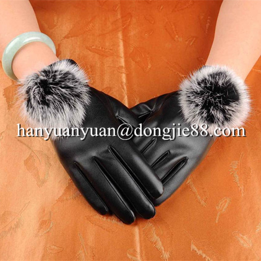 used for bus driving suede fashion winter fur fingerless leather gloves