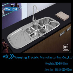 WY-11651 deep franke stainless steel kitchen sink with double bowl sink and classic drainboard