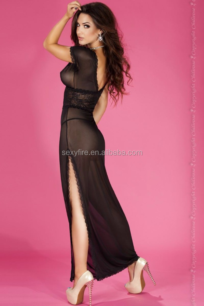 Top Quality Luxury Transparent Full Lace Long Gown Woman Nightwear Sleepwear Lingerie Sexy Looking