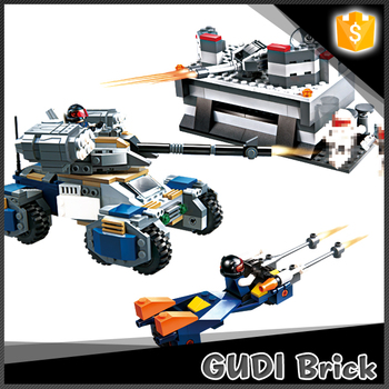 2016 Best DIY model 530 pcs earth border series tank bricks set toy with moto and bunker