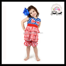 Yawoo ruffle petti tops matching ruffle shorts national day clothing sets smocked children clothing wholesale july 4th outfits