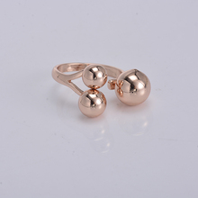 Trendy everyday jewelry rose gold copper alloy brass casting modern and unique jewelry ring with ball end