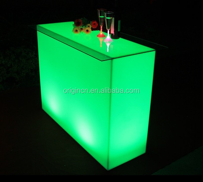 Narrow straight plastic bar counter for cocktail and coffee hot sale LED furniture