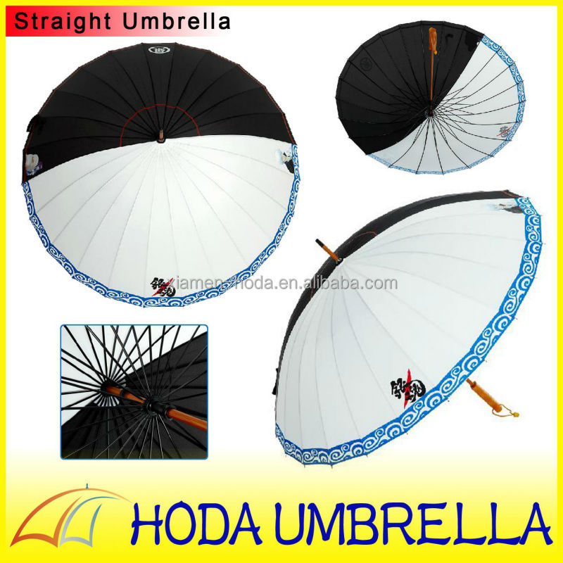 Good quality 25''*24K wooden straight umbrella with classic Gin Tama white and black fabric