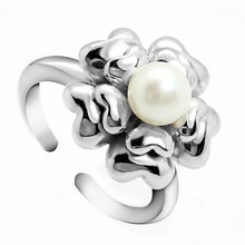 Marlary Hot Sale Pearl Jewelry Flower Design Turkish Italian 925 Sterling Silver Ring For Teenage Girl