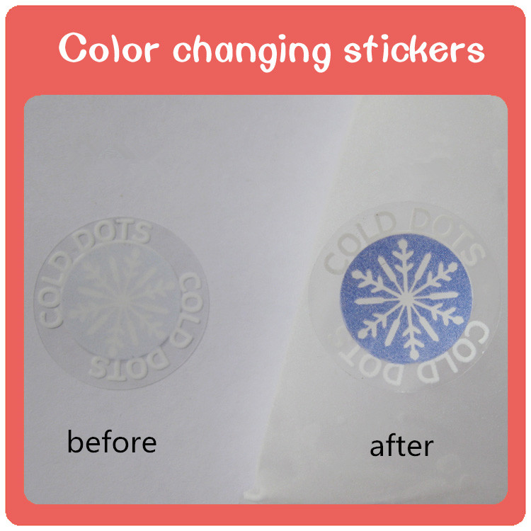 Custom cold sensitive color changing with reversible water temperature sticker