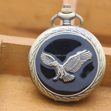 wholesale dropshipping antique metal black eagle pocket watch clock