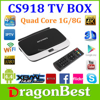 New product arrival! CS918 Quad Core tv box Rockchips 3188 Quad core 1.8Ghz Android4.2 tv box