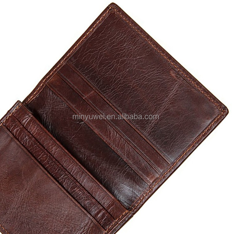 Bi-fold Unisex Dark brown Minimalist  leather Card Wallet ID Window