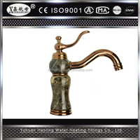 Wall mounted dual handles antique brass kitchen sink faucets mixers taps