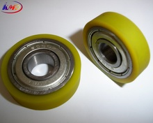 soft yellow rubber foam wheel with bearings 6000zz oil resistant 55A