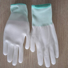 White color nylon palm fit gloves Pu palm coated work gloves