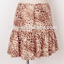 2015 new design spring summer prima africa tiger print women casual floral ruffle <strong>skirt</strong>