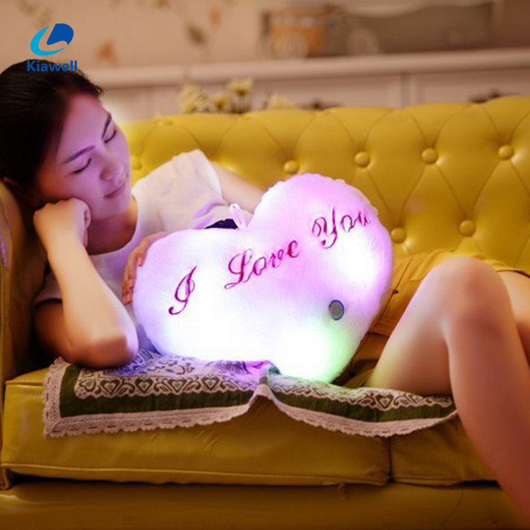 Warm heart sleep pillow stuffed plush night light toy with led string light