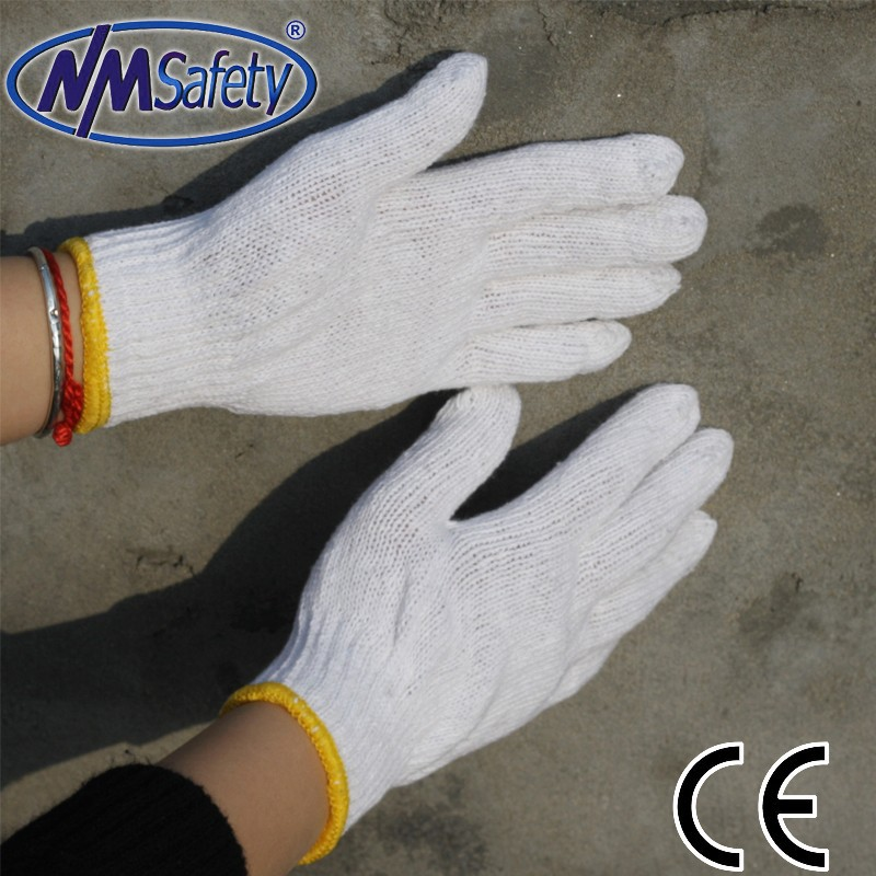 NMSAFETY cheap work gloves 7g white cotton masonic gloves