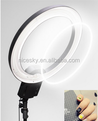 2016 new design fashion photography ring light led circle studio with mirror phone holder