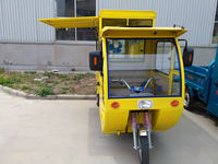 yellow electric tricycle with gas tank for fast food