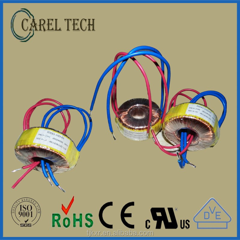 CE ROHS approoved 25VA 2*9V miniature 50/60Hz power transformer, low profile toroid, low profile ring core transformer