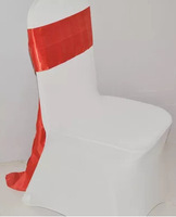 fancy lycra chair bands,red satin sashes wedding chair cover at factory price