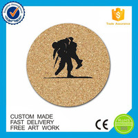 High quality printed souvenir custom cork wooden coaster