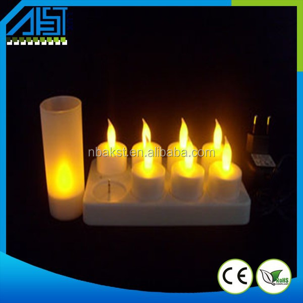 Yellow Flicker Plastic Rechargeable Led Tealight Candle