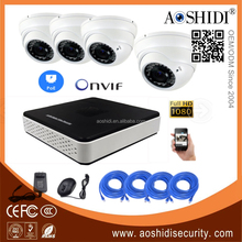 Aoshidi 4 Channel 2MP Outdoor Dome Cameras POE Onvif IP CCTV Cam Kits,4CH HD 1080P Network Home Security Camera System