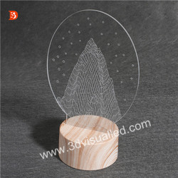 Customzied Wood Case 3D Led Illusion Desk Lamp Indoor Decorative Lamps
