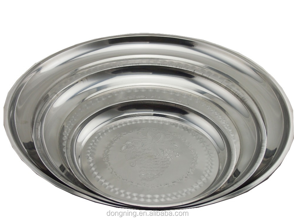 Thai style stainless steel round serving plate food dish metal tray