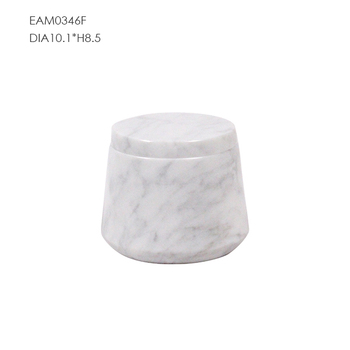 White carrara marble cotton jar Modern bathroom canister