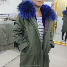 2017 New Style Rabbit Fox Raccoon fur Lining Coats Real fur Parka With Hood